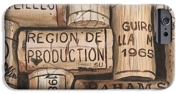 Wine Glasses Paintings iPhone Cases - French Corks iPhone Case by Debbie DeWitt