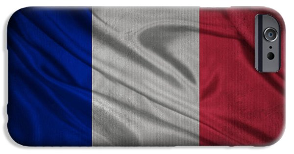 Waving Flag Mixed Media iPhone Cases - French flag waving on canvas iPhone Case by Eti Reid