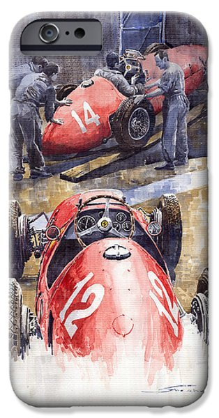 Racing Paintings iPhone Cases - French GP 1952 Ferrari 500 F2 iPhone Case by Yuriy  Shevchuk