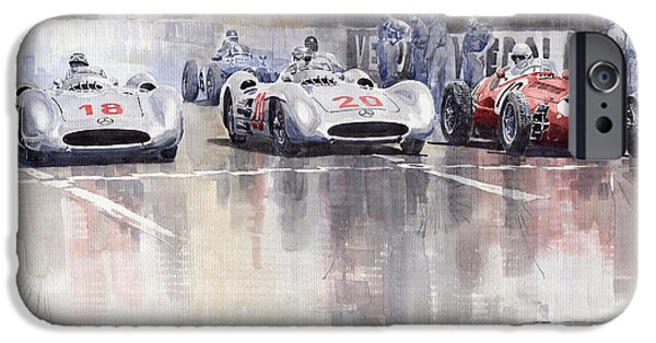 Racing Paintings iPhone Cases - French GP 1954 MB W 196 Meserati 250 F iPhone Case by Yuriy  Shevchuk