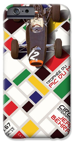 Circuit iPhone Cases - French Grand Prix 1967 Circuit Jean Behra iPhone Case by John Bradley