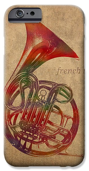 Horn iPhone Cases - French Horn Brass Instrument Watercolor Portrait on Worn Canvas iPhone Case by Design Turnpike