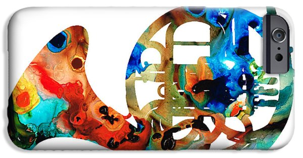 Online-art Paintings iPhone Cases - French Horn - Colorful Music by Sharon Cummings iPhone Case by Sharon Cummings
