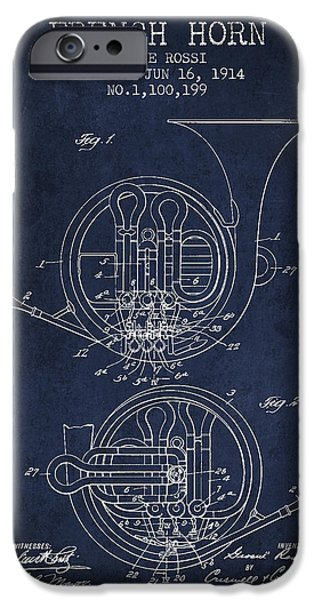 Property iPhone Cases - French Horn Patent from 1914 - Blue iPhone Case by Aged Pixel