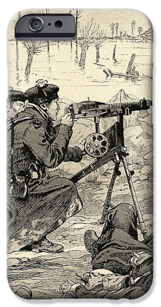 World War One Photographs iPhone Cases - French Machine Gun Team At The Battle Of The Yser, Belgium, 1915 During World War One. From Agenda iPhone Case by Bridgeman Images