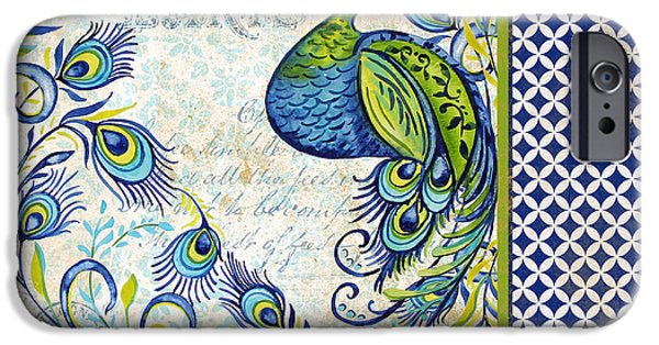 Nature Study iPhone Cases - French Peacock-e iPhone Case by Jean Plout