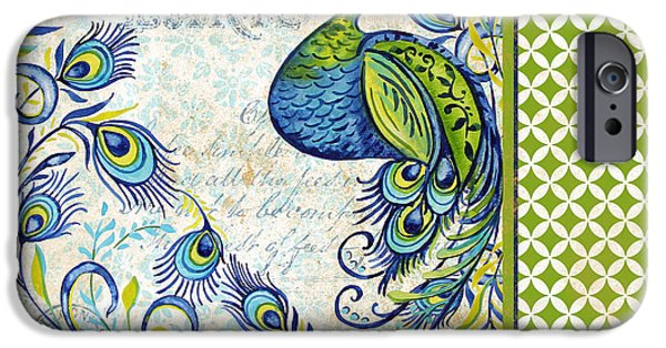 Nature Study iPhone Cases - French Peacock-f iPhone Case by Jean Plout