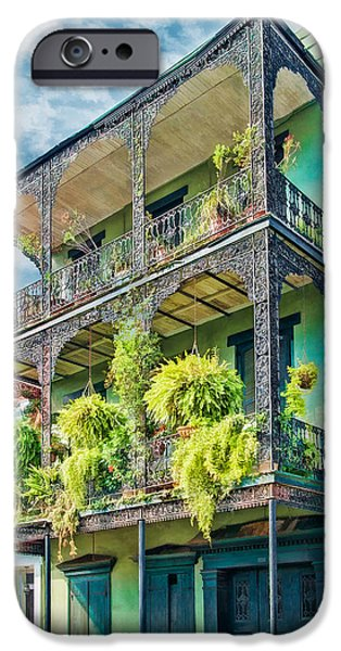 Hattiesburg iPhone Cases - French Quarter Ferns iPhone Case by Brenda Bryant