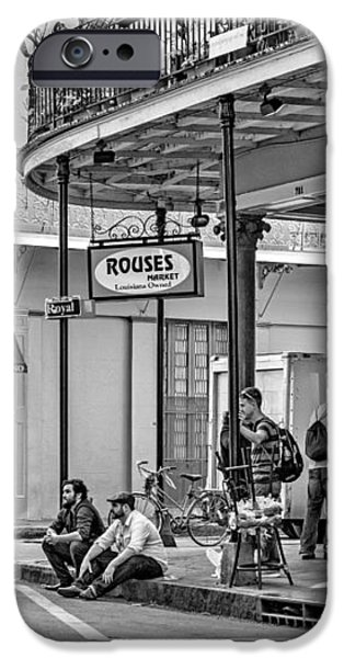 French Quarter - Hangin' Out BW iPhone Case by Steve Harrington