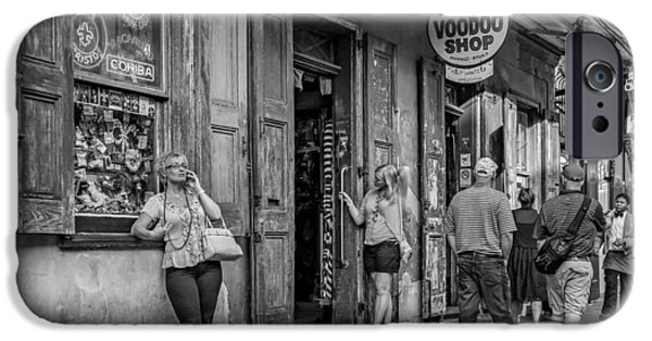Voodoo Shop iPhone Cases - French Quarter - People Watching bw iPhone Case by Steve Harrington