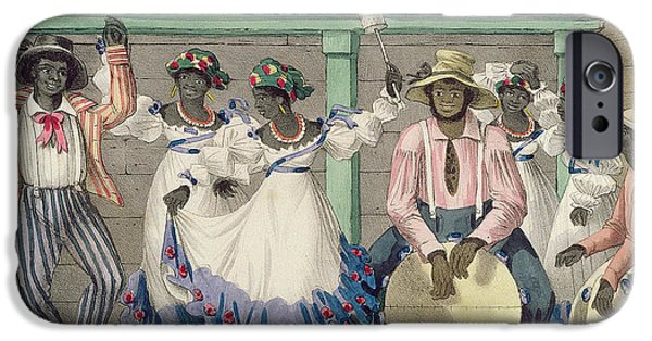 West Indies iPhone Cases - French Set-girls, Plate 7 From Sketches Of Character..., 1838 Colour Litho iPhone Case by Isaac Mendes Belisario