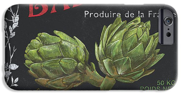 Vine Leaves iPhone Cases - French Veggie Labels 1 iPhone Case by Debbie DeWitt