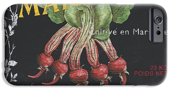 Vine Leaves iPhone Cases - French Veggie Labels 2 iPhone Case by Debbie DeWitt