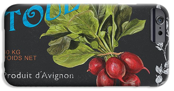 Organic Paintings iPhone Cases - French Veggie Labels 3 iPhone Case by Debbie DeWitt
