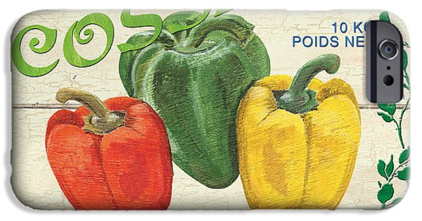 Graphic Design Paintings iPhone Cases - French Veggie Sign 4 iPhone Case by Debbie DeWitt