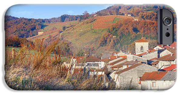 Built Structure iPhone Cases - French village in autumn season iPhone Case by Gregory DUBUS