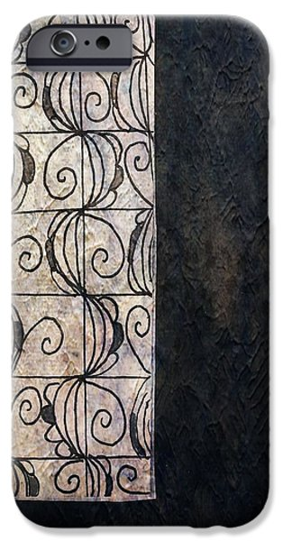 Abstract Collage Drawings iPhone Cases - French Windows iPhone Case by Victoria Fischer