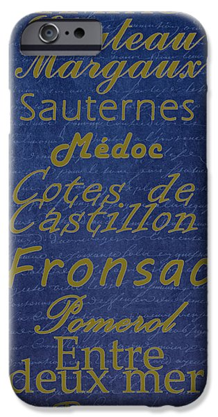 French Wines - 2 Champagne and Bordeaux Region iPhone Case by Paulette B Wright