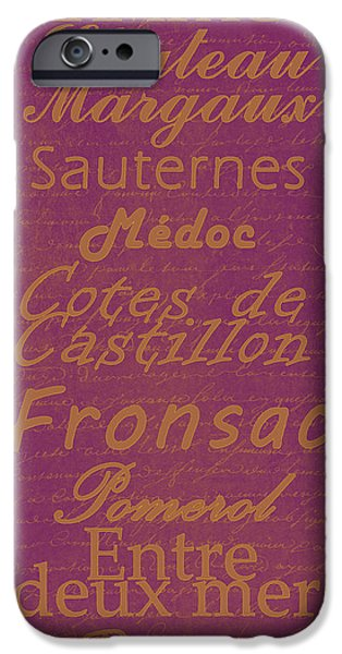 French Wines-3 - Champagne and Bordeaux Region iPhone Case by Paulette B Wright