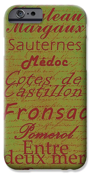 French Wines - 4 Champagne and Bordeaux Region iPhone Case by Paulette B Wright