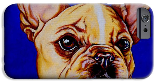 Dog Close-up Paintings iPhone Cases - Frenchie iPhone Case by Lina Tricocci