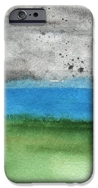 Nature Abstract iPhone Cases - Fresh Air- landscape painting iPhone Case by Linda Woods