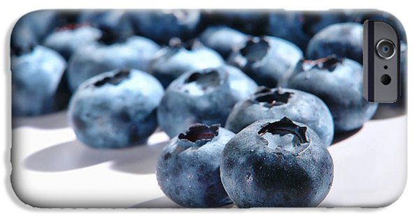 Blueberry iPhone Cases - Fresh and Natural Blueberries Close Up on White iPhone Case by Olivier Le Queinec