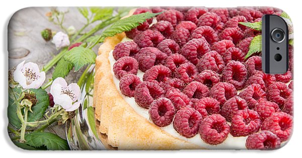 Berry iPhone Cases - Fresh baked Raspberry Tart iPhone Case by Handmade Pictures