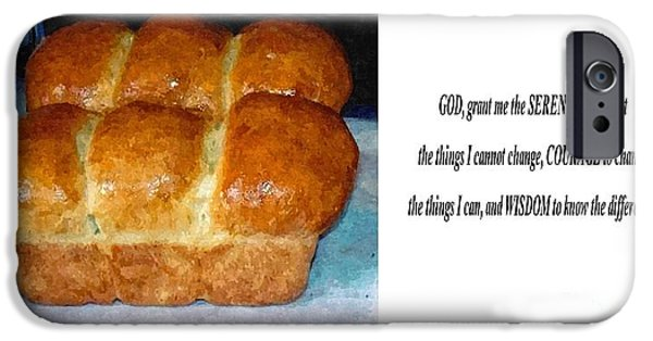 Loaf Of Bread iPhone Cases - Kitchen Art and  Serenity Prayer iPhone Case by Barbara Griffin