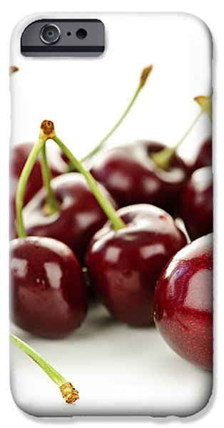 Fresh cherries on white iPhone Case by Elena Elisseeva