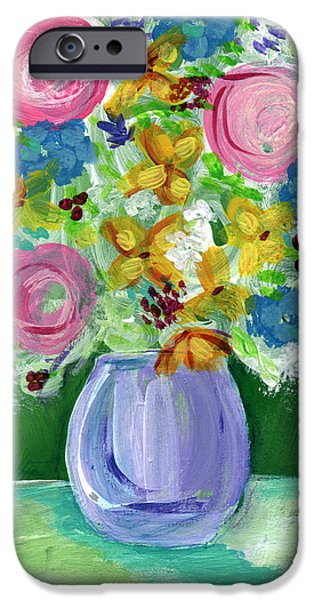 Flower Of Life Mixed Media iPhone Cases - Fresh Flowers- Painting iPhone Case by Linda Woods