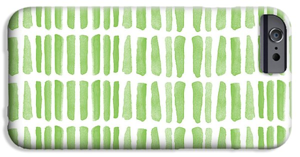 Stripes iPhone Cases - Fresh Grass- Abstract Pattern Painting iPhone Case by Linda Woods
