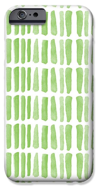 Fresh Grass- Abstract Pattern Painting iPhone Case by Linda Woods