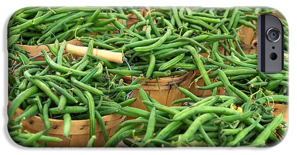 Locally Grown iPhone Cases - Fresh Green Beans in Baskets iPhone Case by Teri Virbickis