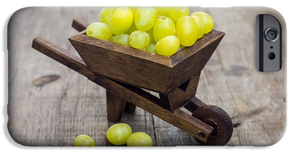 Berry iPhone Cases - Fresh Green Grapes in a wheelbarrow iPhone Case by Aged Pixel