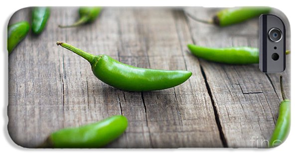 Chili iPhone Cases - Fresh jalapenos chili pepper iPhone Case by Aged Pixel