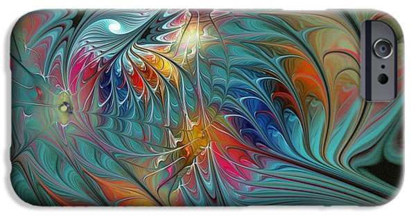 Poetic iPhone Cases - Fresh Mints and Cool Blues-Abstract Fractal Art iPhone Case by Karin Kuhlmann