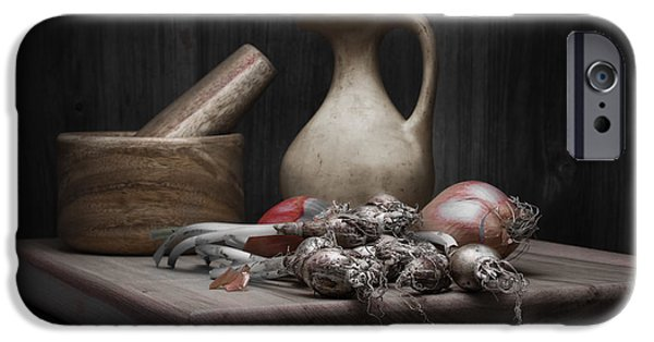 Pottery Pitcher iPhone Cases - Fresh Onions with Pitcher iPhone Case by Tom Mc Nemar
