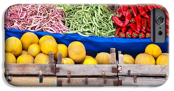 Wooden Crate iPhone Cases - Fresh Organic Fruits and Vegetables At A Street Market iPhone Case by Leyla Ismet