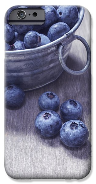 Wooden Bowl iPhone Cases - Fresh picked blueberries with vintage feel iPhone Case by Edward Fielding