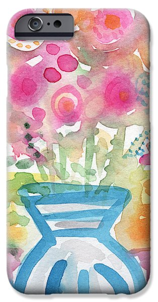 Hydrangeas iPhone Cases - Fresh Picked Flowers in a Blue Vase- contemporary watercolor painting iPhone Case by Linda Woods