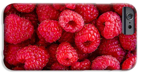 Locally Grown iPhone Cases - Fresh Raspberries iPhone Case by Teri Virbickis
