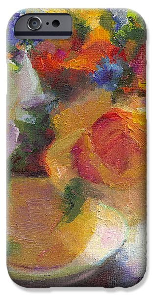 Fresh - Roses in teacup iPhone Case by Talya Johnson