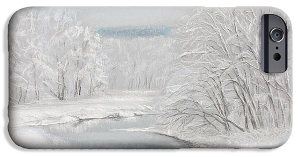 Creek Pastels iPhone Cases - Fresh Snow at Catfish Corner iPhone Case by Sherri Anderson