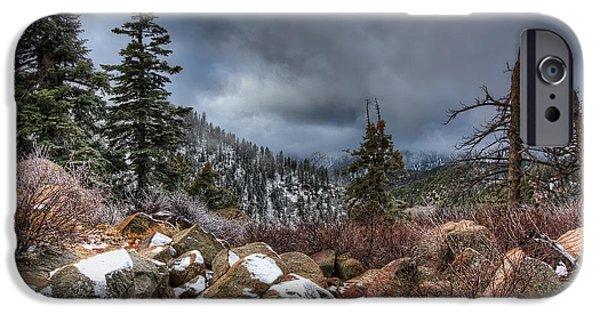 Fresh Snow iPhone Cases - Fresh Snow in Big Bear iPhone Case by Eddie Yerkish