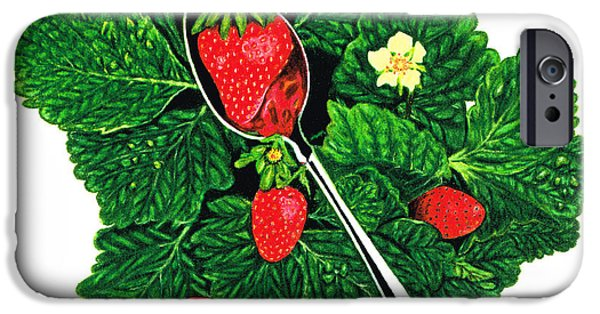 Strawberry iPhone Cases - Fresh Strawberries - Fruit Art - By Sharon Cummings iPhone Case by Sharon Cummings