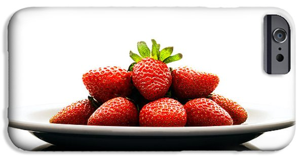 Raw iPhone Cases - Fresh strawberries on Plate iPhone Case by Johan Swanepoel