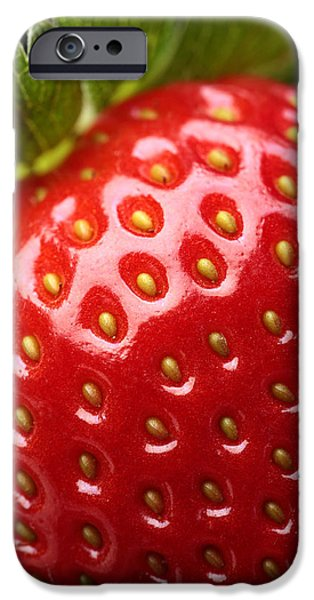Freshness iPhone Cases - Fresh strawberry close-up iPhone Case by Johan Swanepoel