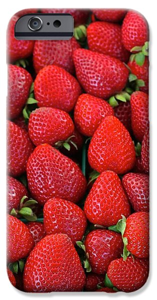 Fresh Pyrography iPhone Cases - Fresh Strawbwrries iPhone Case by DUG Harpster