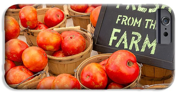 Locally Grown iPhone Cases - Fresh Tomatoes in Baskets at Farmers Market iPhone Case by Teri Virbickis